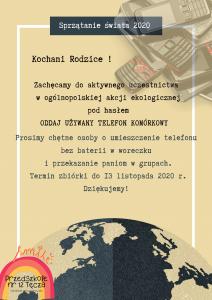 Plakat zachęcający rodziców do zbierania starych telefonów komórkowych