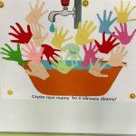 Plakat wykonany przez dzieci przedstawiający kran, umywalkę i dużo naklejonych papierowych dłoni wyciętych przez dzieci.