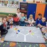 Grupa dzieci siedzących na dywanie w półkolu. Przed nimi mata - drzewo, na której ułożone są kolorowe figury geometryczne.