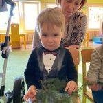 Chłopiec trzyma w ręce gałązkę świerku