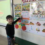 Chłopiec stojący przed tablicą, pokazujący palcem na ilustracje.