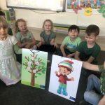 W pierwszym rzędzie po lewej stronie, na dywanie siedzi dziewczynka, która trzyma w ręku tablicę przedstawiającą wiosenne drzewo. Chłopiec siedzacy z prawej strony trzyma w ręku tablicę przedstawiającą chłoca w wiosennym stroju. Z tyłu, na dywanie sidzi pięcioro dzieci.