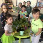 Sześcioro dzieci pozujących do zdjęcia w sali przedszkolnej. Przed dziećmi stoi zielony stolik z sadzonkami roślin i ziół. Dwoje dzieci ma założone rękawiczki ogrodowe i trzyma w rękach łopatki z ziemią.