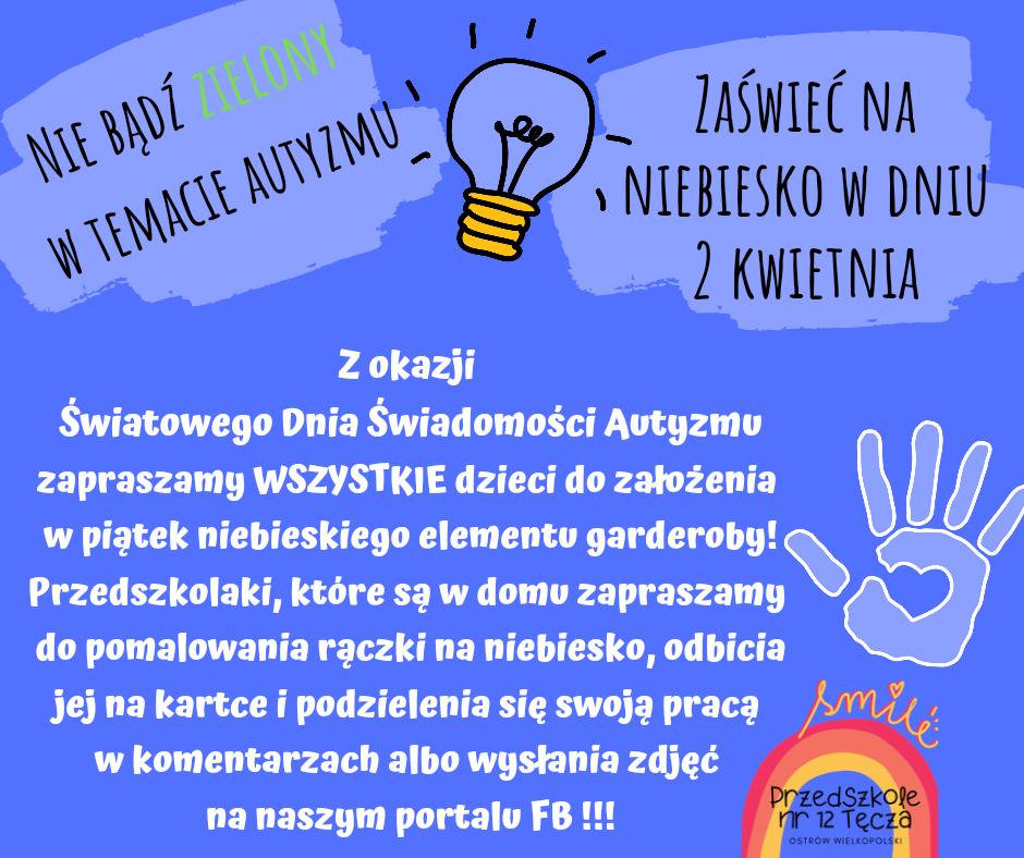 Plakat informujacy o obchodach Światowego Dnia Świadomości Autyzmu dnia 2 kwietnia.