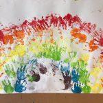 Plakat przedstawiający tęczę zrobioną z odbitych dłoni dzieci.