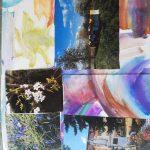 Praca plastyczna: kolorowe tło, na nim przyklejone zdjęcia.