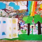 Praca plastyczna przedstawiająca dom, drzewa, tęczę na kolorowym tle.