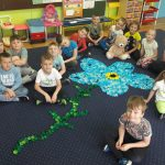 Dzieci siedzą na dywanie. Na środku ułożony został kwiat z zakrętek.