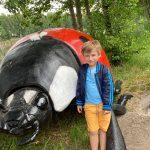 Chłopiec stoi obok dużej, sztucznej biedronki