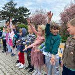 Dwanaścioro dzieci stojacych w jednym rzędzie na placu przedszkolnym, mających skierowane do przodu wyprostowane ręce. W tle, po lewej stronie widoczne są dwie Panie.