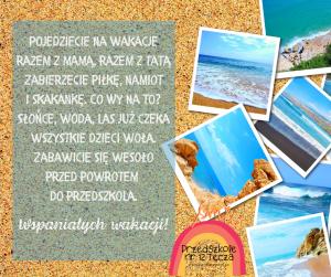 Plakat kierowany do dzieci z życzeniami wspaniałych wakacji.