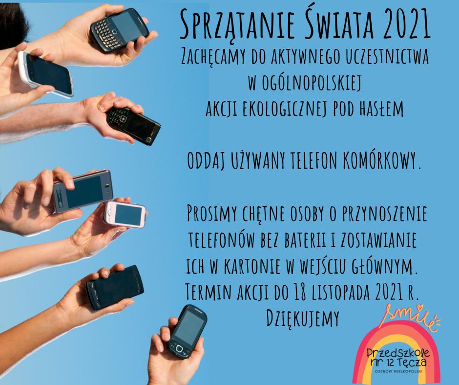 Ogłoszenie informujące o zbiórce używanych telefonów komórkowych.